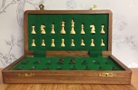 Sheesham Rosewood Handcrafted Med Magnetic Travel Chess Set Board & Pieces
